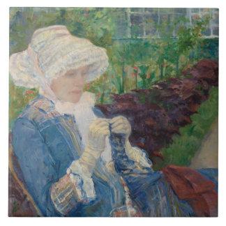Mary Cassat- Lydia, der im Garten häkelt Keramikfliese