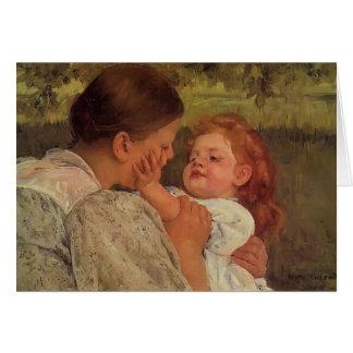 Mary Cassatt: Mütterliche Liebkosung Karte