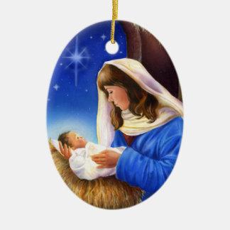 Mary- und Jesus-Verzierung Ovales Keramik Ornament