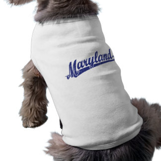 Maryland-Skriptlogo im Blau beunruhigt T-Shirt