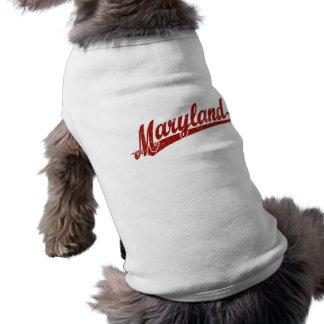 Maryland-Skriptlogo im Rot beunruhigt T-Shirt