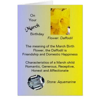 März-Geburtstags-Karte - Narzisse und Aquamarine Karte