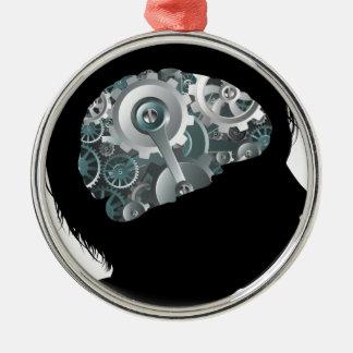 Maschinen-Funktions-Gang-Zahn-Gehirn-Kinderkonzept Rundes Silberfarbenes Ornament