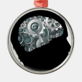 Maschinen-Funktions-Gang-Zahn-Gehirn-Mann-Konzept Silbernes Ornament