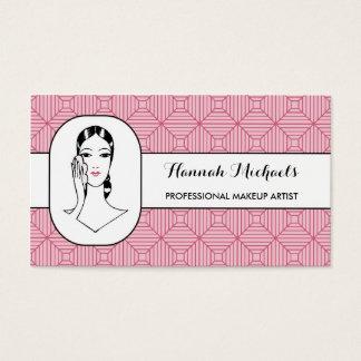 Maskenbildner-rosa Puderquaste-Frauen-Verabredung Visitenkarte