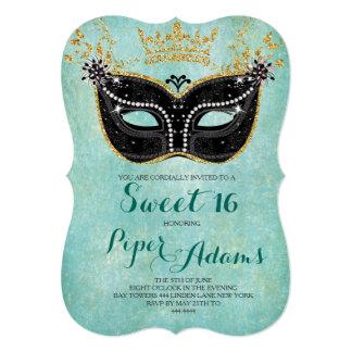 Maskerade-GoldGlitter und -aqua des Bonbon-16 12,7 X 17,8 Cm Einladungskarte