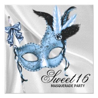 Maskerade-Party des Baby-Blau-Bonbon-16 Quadratische 13,3 Cm Einladungskarte