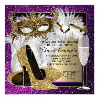 Maskerade-Party Einladungen der Frau lila Gold