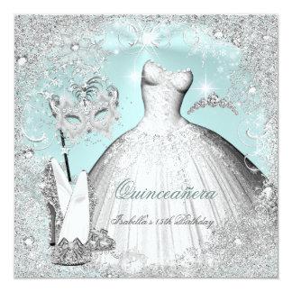 Maskerade Quinceanera tadellose blaue silberne Quadratische 13,3 Cm Einladungskarte