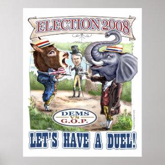 Maskottchen-politische Duell-Wahl 2008 Poster