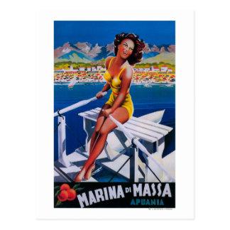 Massa Jachthafen-Reise-Plakat Postkarte