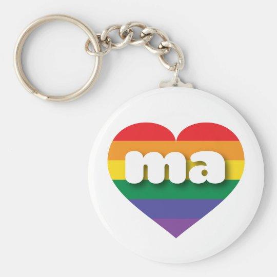 Massachusetts-Gay Prideregenbogenherz - MiniLiebe Schlüsselanhänger