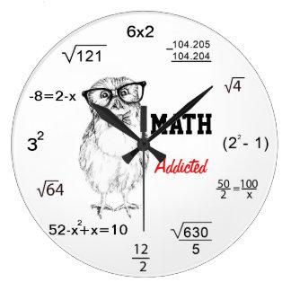 Mathe gewöhnte nerdy Eule Große Wanduhr