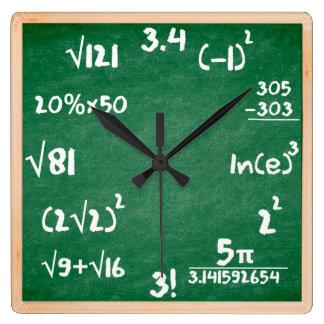 Mathe-Uhr mit hölzerner Grenze Quadratische Wanduhr