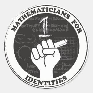Mathematiker für Identitätsaufkleber Runder Aufkleber