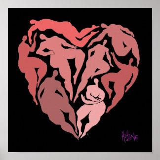 Matisse inspirierte Zahlen in der Herzform Poster