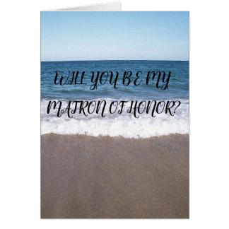 Matrone der Ehre für Strand an der Ozean-Hochzeit Karte