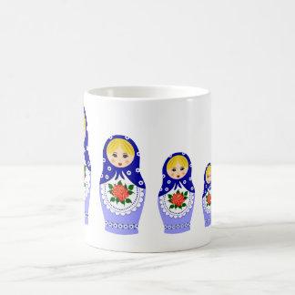 Matryoschka Puppen blau Tasse