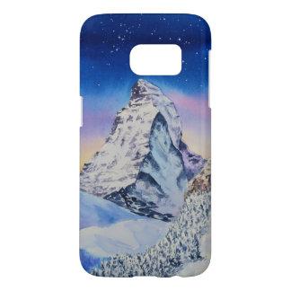 Matterhorn-Berg im Schnee am Winter-Abend