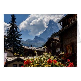 Matterhorn- und Zermattdorfhäuser, die Schweiz Grußkarte