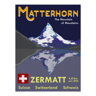 Matterhorn, Zermatt, die Schweiz, Ski-Plakat Poster
