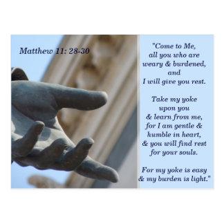 Matthew 11 28 30 Schrifts-codierte Karte