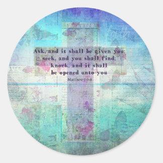 Matthew-7:7 - Inspirational Vers der Bibel-8 Runder Aufkleber