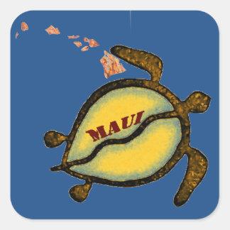 Maui-Meeresschildkröte-Hawaiianer-Karte Quadratischer Aufkleber