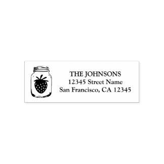 Maurerglas-Erdbeerselbst, der Adressen-Briefmarken Permastempel