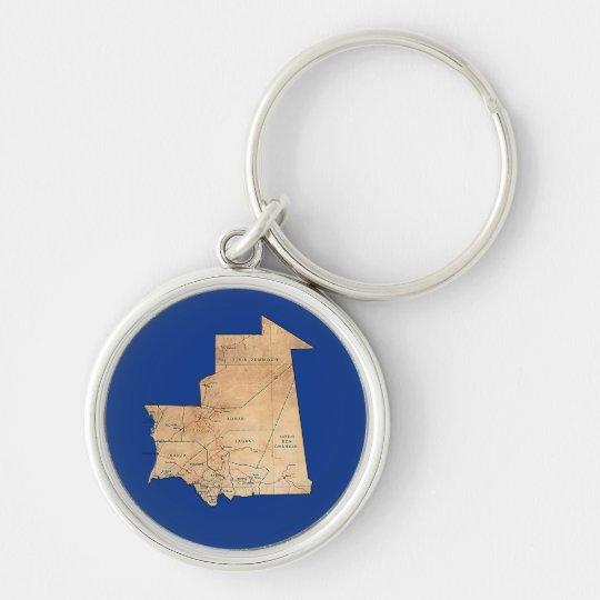 Mauretanien-Karte Keychain Silberfarbener Runder Schlüsselanhänger