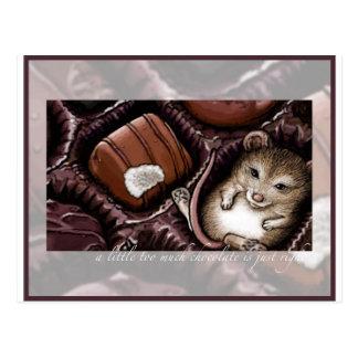 Maus im Schokoladen-Kasten Postkarte