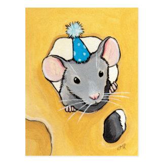 Maus in einem blauen Party-Hut - Postkarte