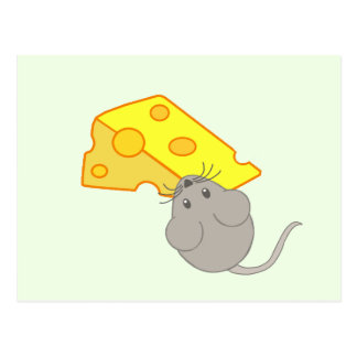 Maus mit Käse Postkarte