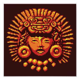 Maya-Frauen-Stammes- Kopfschmuck-Pixel Photo Drucke