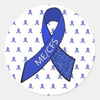 ME/CFS blaues Band-Bewusstseins-Aufkleber Runder Aufkleber
