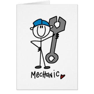Mécanicien avec le chiffre de bâton de clé carte de vœux