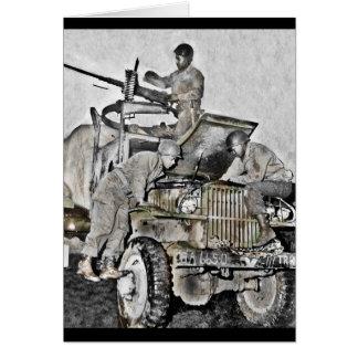 Mechaniker, die an LKW WWII arbeiten Karte
