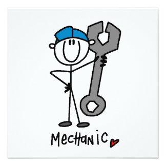 Mechaniker mit Schlüssel-Strichmännchen Personalisierte Ankündigungskarten