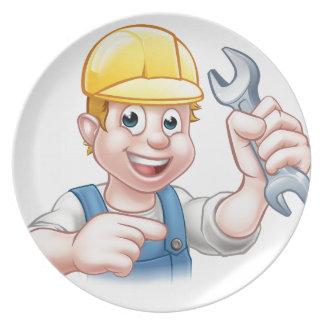 Mechaniker-oder Klempner-Cartoon-Charakter Teller