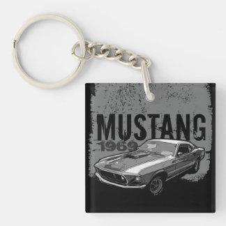 Mechanischer Power des Mustangs Beidseitiger Quadratischer Acryl Schlüsselanhänger