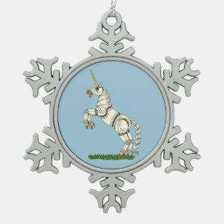 Mechanisches Einhorn Schneeflocken Zinn-Ornament