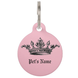 Médaillon Pour Animaux Étiquette rose d'identification de nom d'animal