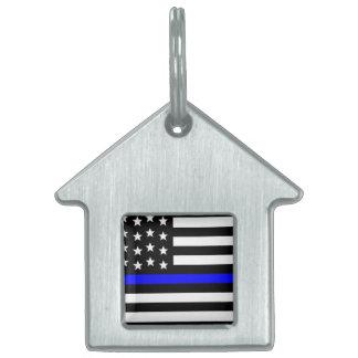 Médaillons Pour Animaux Domestiques Blue Line mince - coutume personnalisée de drapeau