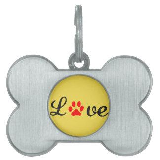Médaillons Pour Animaux Domestiques Chien d'amour d'étiquette d'animal familier d'os
