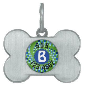 Médaillons Pour Animaux Domestiques Le tourbillonnement bleu pointille (choisissez la