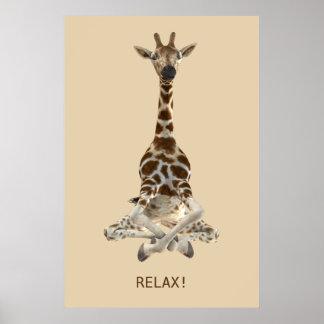 Meditierende Giraffe Poster