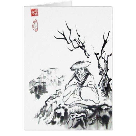 Meditierende Samurai-Kunst Karte