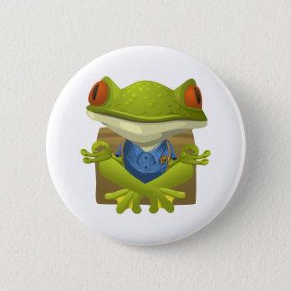 Meditierender Frosch-Knopf Runder Button 5,7 Cm