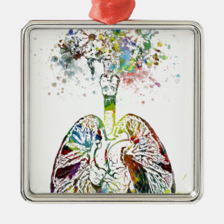 Medizinische Geschenke Herz und Lunge-Motiv Silbernes Ornament