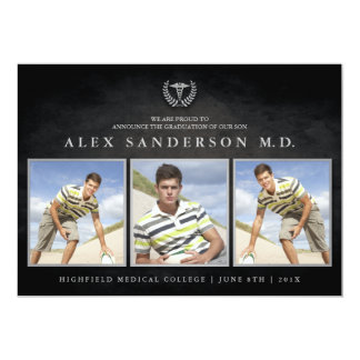 Medizinische SchulAbschluss-Einladung mit 3 Fotos 12,7 X 17,8 Cm Einladungskarte